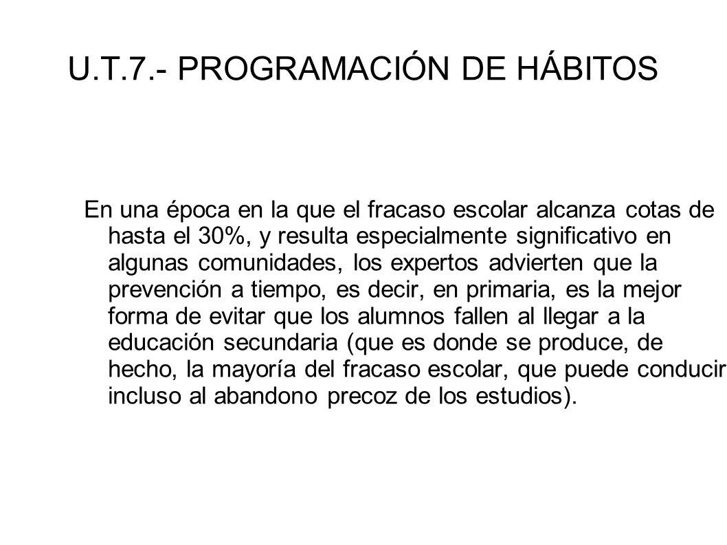 U.T.7.- PROGRAMACIÓN DE HÁBITOS En una época en la que el fracaso escolar alcanza cotas de hasta el 30%, y resulta especialmente significativo en algu