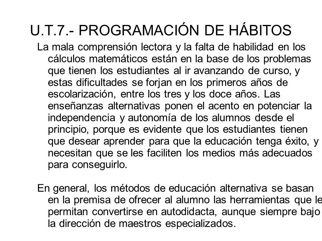 U.T.7.- PROGRAMACIÓN DE HÁBITOS La mala comprensión lectora y la falta de habilidad en los cálculos matemáticos están en la base de los problemas que