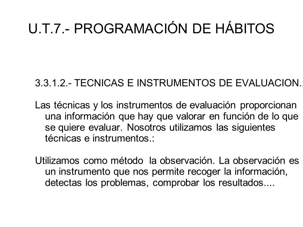 U.T.7.- PROGRAMACIÓN DE HÁBITOS 3.3.1.2.- TECNICAS E INSTRUMENTOS DE EVALUACION.: Las técnicas y los instrumentos de evaluación proporcionan una infor