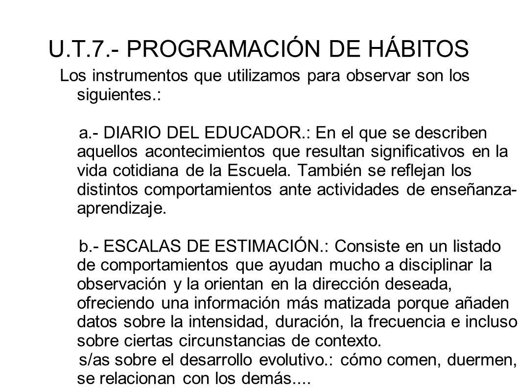 U.T.7.- PROGRAMACIÓN DE HÁBITOS Los instrumentos que utilizamos para observar son los siguientes.: a.- DIARIO DEL EDUCADOR.: En el que se describen aq