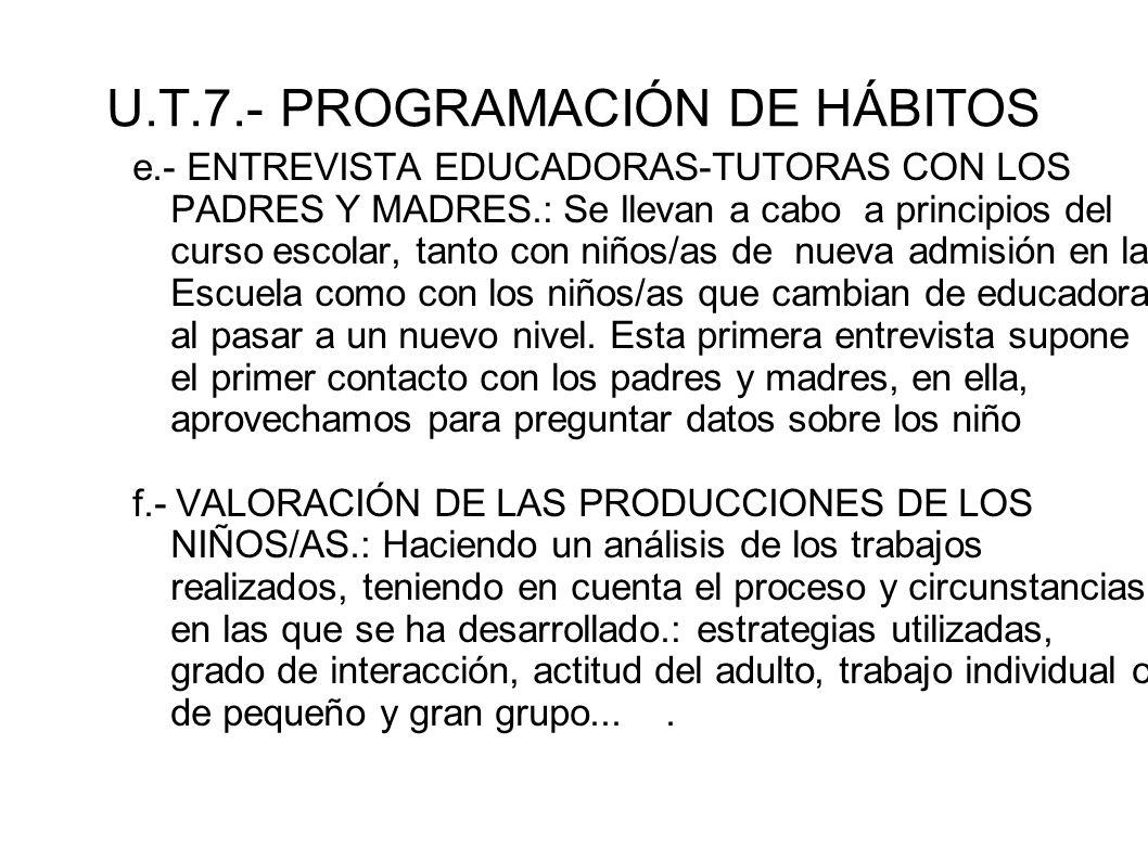 U.T.7.- PROGRAMACIÓN DE HÁBITOS e.- ENTREVISTA EDUCADORAS-TUTORAS CON LOS PADRES Y MADRES.: Se llevan a cabo a principios del curso escolar, tanto con