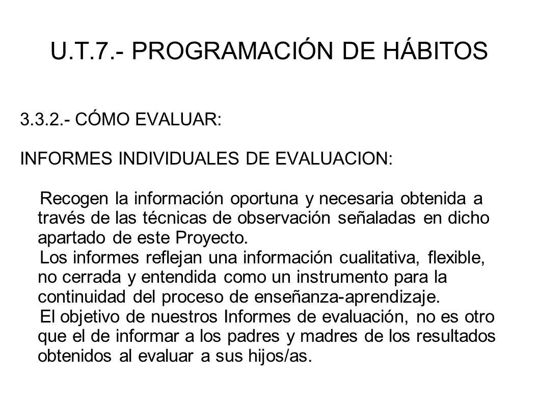 U.T.7.- PROGRAMACIÓN DE HÁBITOS 3.3.2.- CÓMO EVALUAR: INFORMES INDIVIDUALES DE EVALUACION: Recogen la información oportuna y necesaria obtenida a trav
