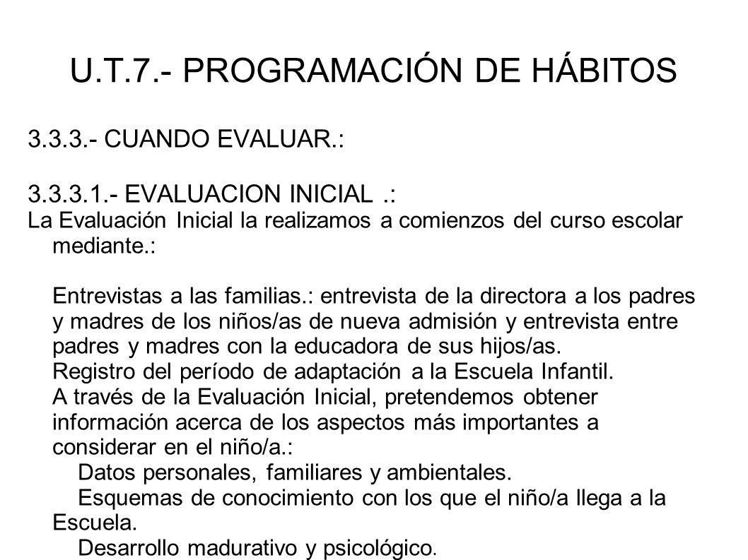 U.T.7.- PROGRAMACIÓN DE HÁBITOS 3.3.3.- CUANDO EVALUAR.: 3.3.3.1.- EVALUACION INICIAL.: La Evaluación Inicial la realizamos a comienzos del curso esco