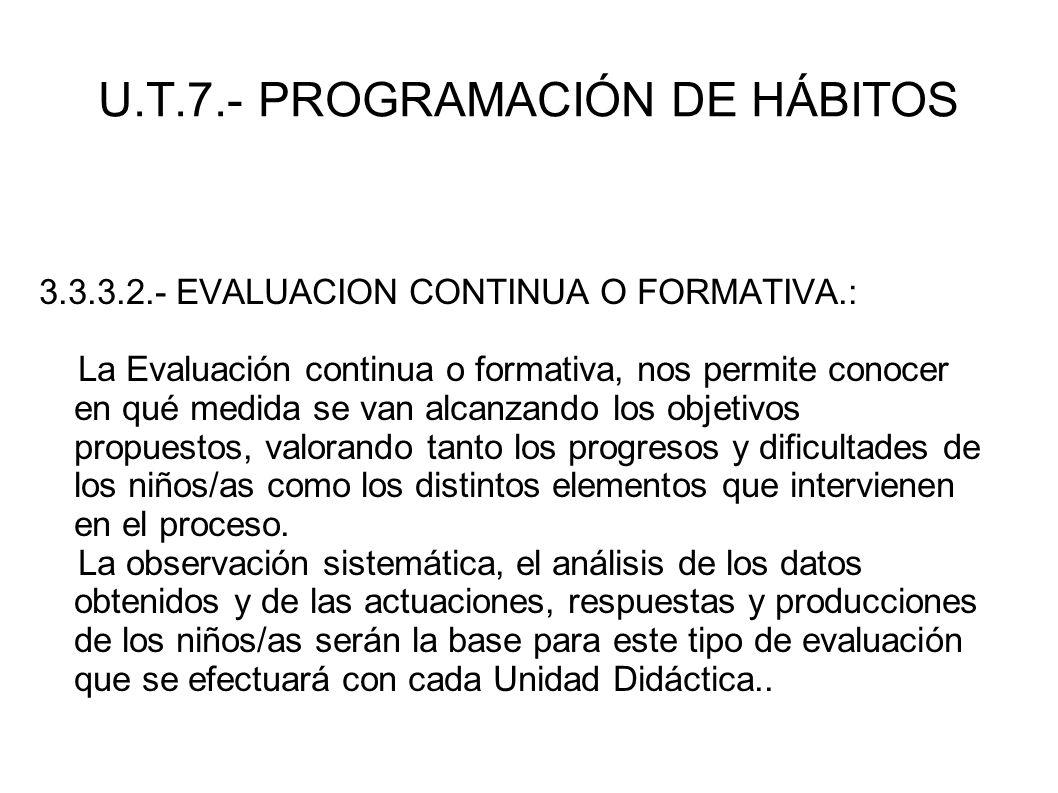 U.T.7.- PROGRAMACIÓN DE HÁBITOS 3.3.3.2.- EVALUACION CONTINUA O FORMATIVA.: La Evaluación continua o formativa, nos permite conocer en qué medida se v