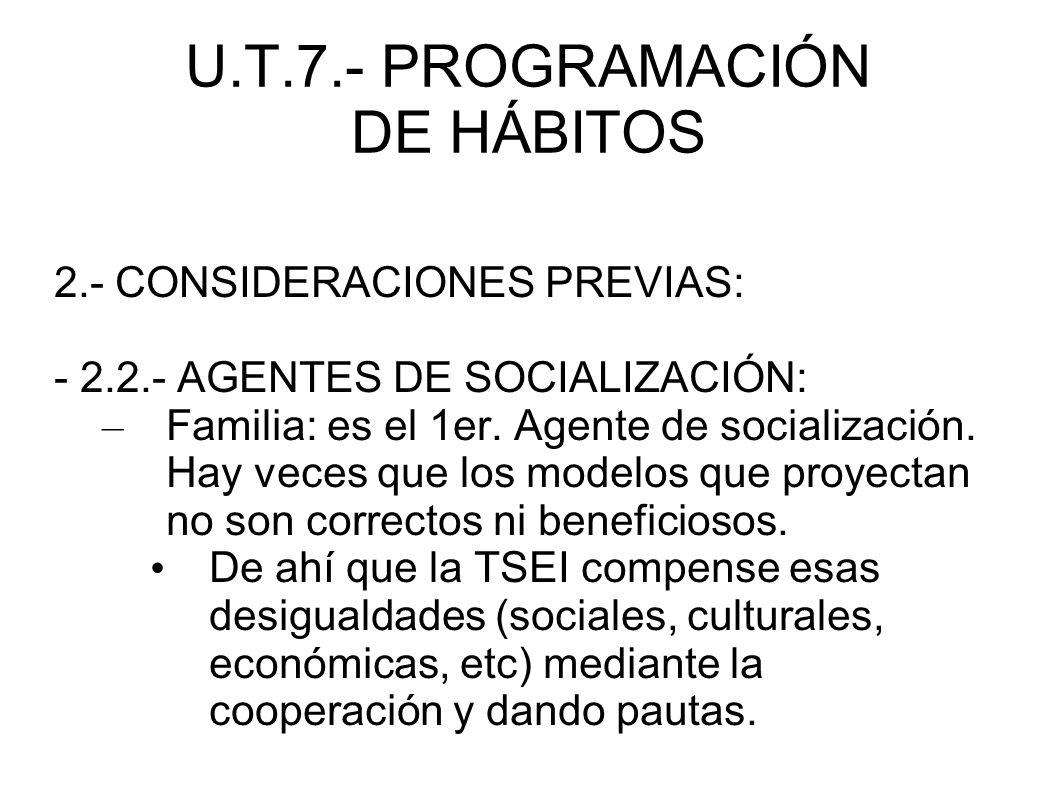 U.T.7.- PROGRAMACIÓN DE HÁBITOS - 3.2.- METODOLOGÍA 3.2.2.- PRINCIPIOS METODOLÓGICOS EN E.I.: * Las relaciones fluidas, continuadas y de colaboración con la familia, permitirán unificar criterios y pautas de actuación entre los adultos que intervienen directamente en la educación de los alumnos.