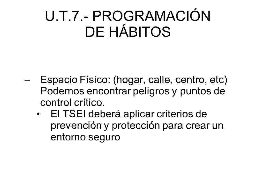 U.T.7.- PROGRAMACIÓN DE HÁBITOS – Espacio Físico: (hogar, calle, centro, etc) Podemos encontrar peligros y puntos de control crítico. El TSEI deberá a