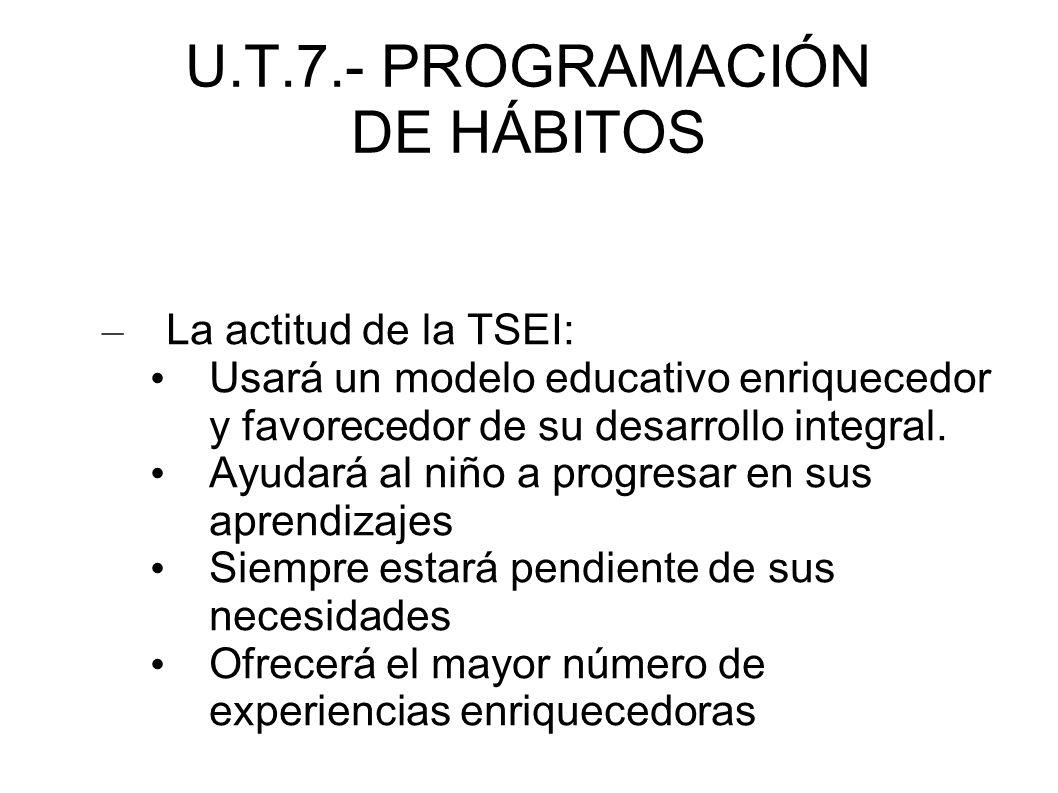 U.T.7.- PROGRAMACIÓN DE HÁBITOS - 3.2.- METODOLOGÍA 3.2.2.- PRINCIPIOS METODOLÓGICOS EN E.I.: * Creación de un ambiente cálido, seguro y con relación de confianza y afecto con el educador.