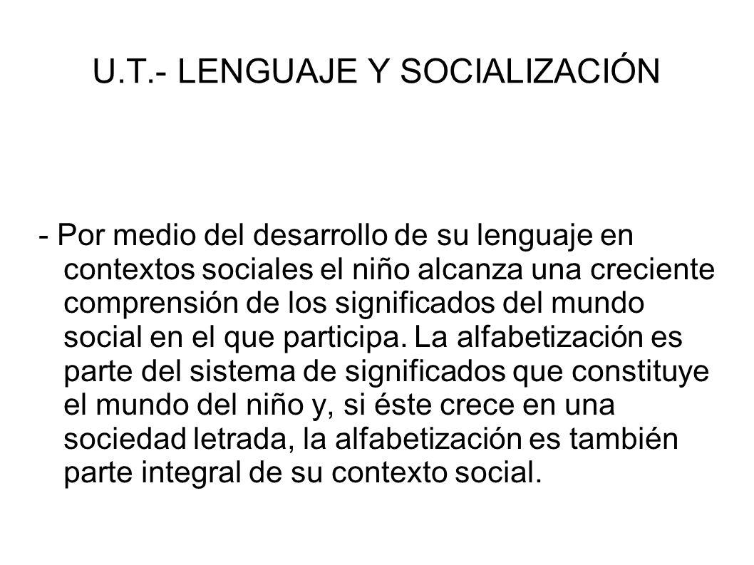 U.T.- LENGUAJE Y SOCIALIZACIÓN - Por medio del desarrollo de su lenguaje en contextos sociales el niño alcanza una creciente comprensión de los signif