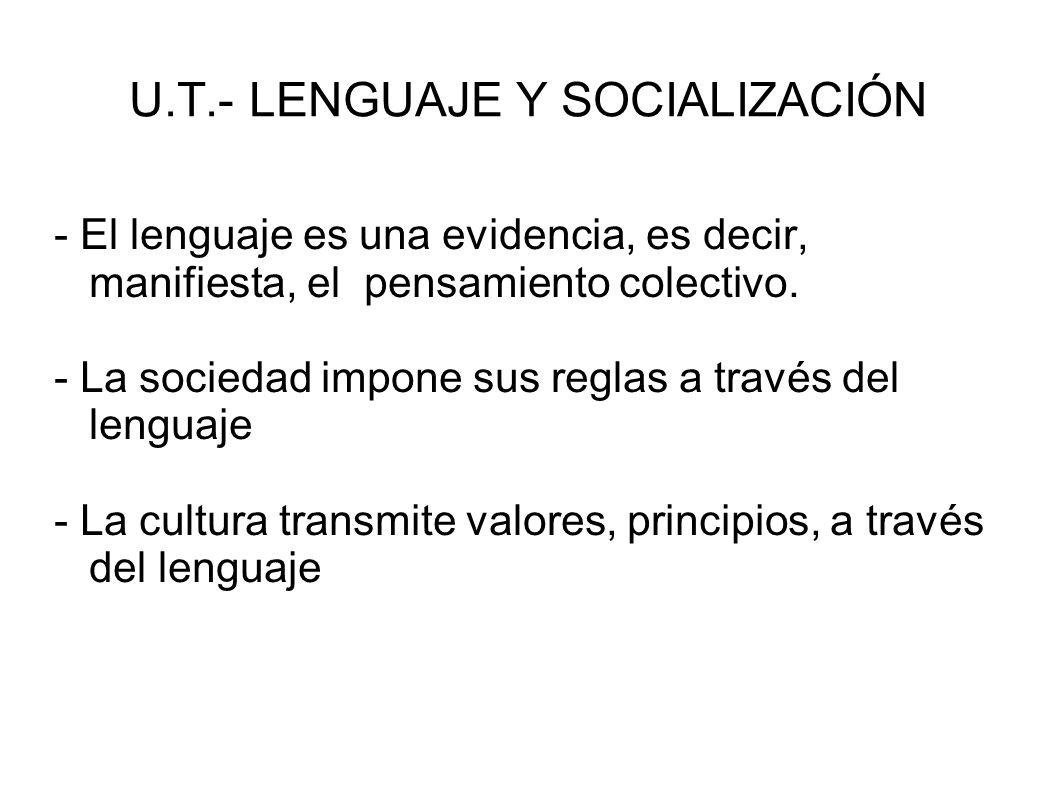 U.T.- LENGUAJE Y SOCIALIZACIÓN - El lenguaje es una evidencia, es decir, manifiesta, el pensamiento colectivo. - La sociedad impone sus reglas a travé