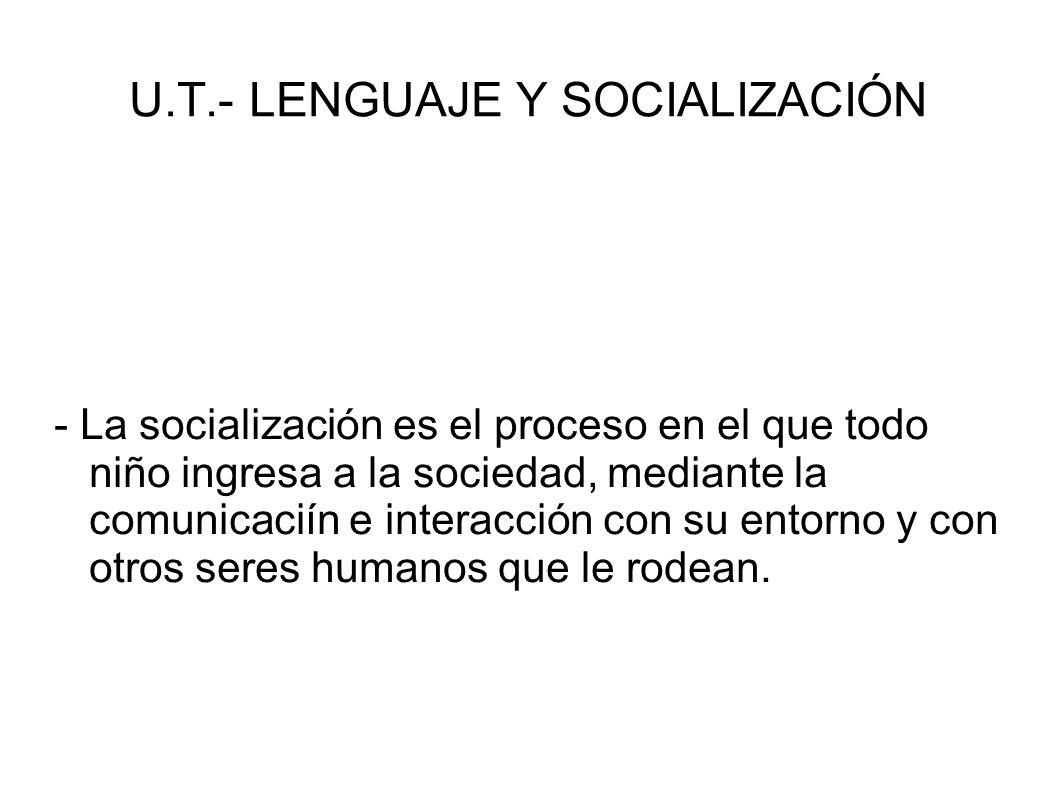U.T.- LENGUAJE Y SOCIALIZACIÓN - La socialización es un proceso por el cual el individuo acoge los elementos socioculturales de su ambiente y los integra a su personalidad para adaptarse en la sociedad.