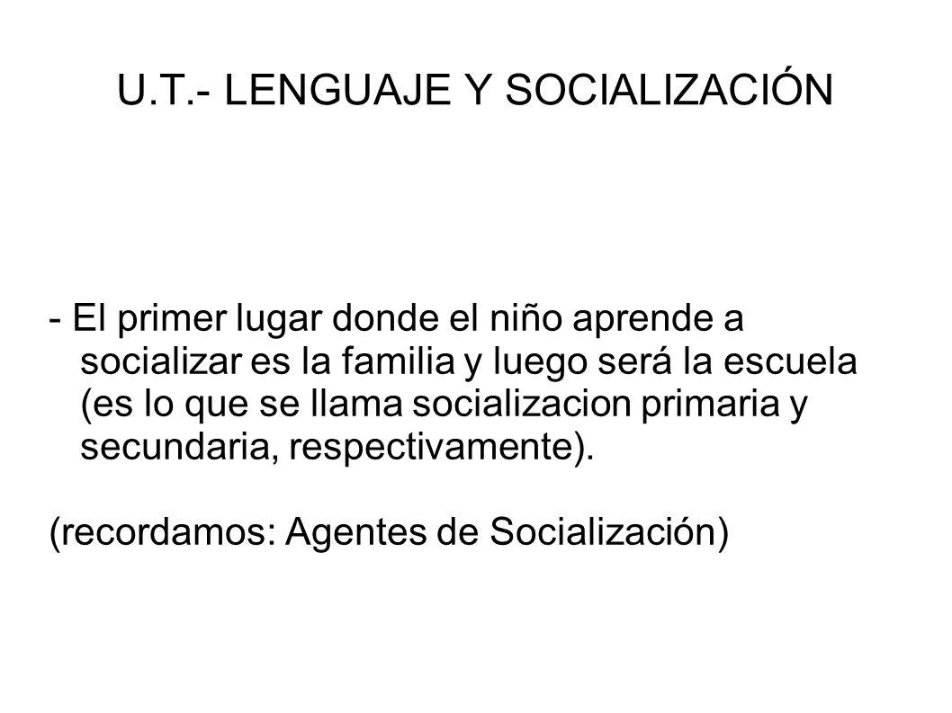U.T.- LENGUAJE Y SOCIALIZACIÓN - Ahora bien, para que todo proceso de socialización tenga exito, tiene fundamental importancia el lenguaje, que no se refiere solo al ambito de la comunicacion sino a todo tipo de expresion (linguistica, gestual, facial, corporal, tactil, etc...)