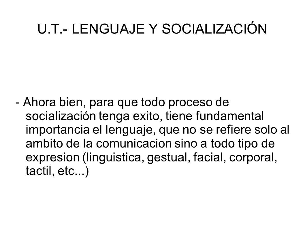 U.T.- LENGUAJE Y SOCIALIZACIÓN - Ahora bien, para que todo proceso de socialización tenga exito, tiene fundamental importancia el lenguaje, que no se