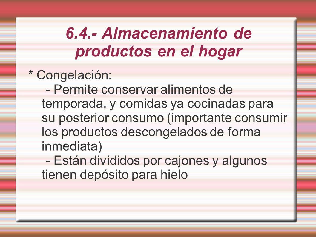 6.4.- Almacenamiento de productos en el hogar - Tiempo de conservación según Tipos de frigorífico: * 10 días ** 1 mes *** 3 meses **** 1 año