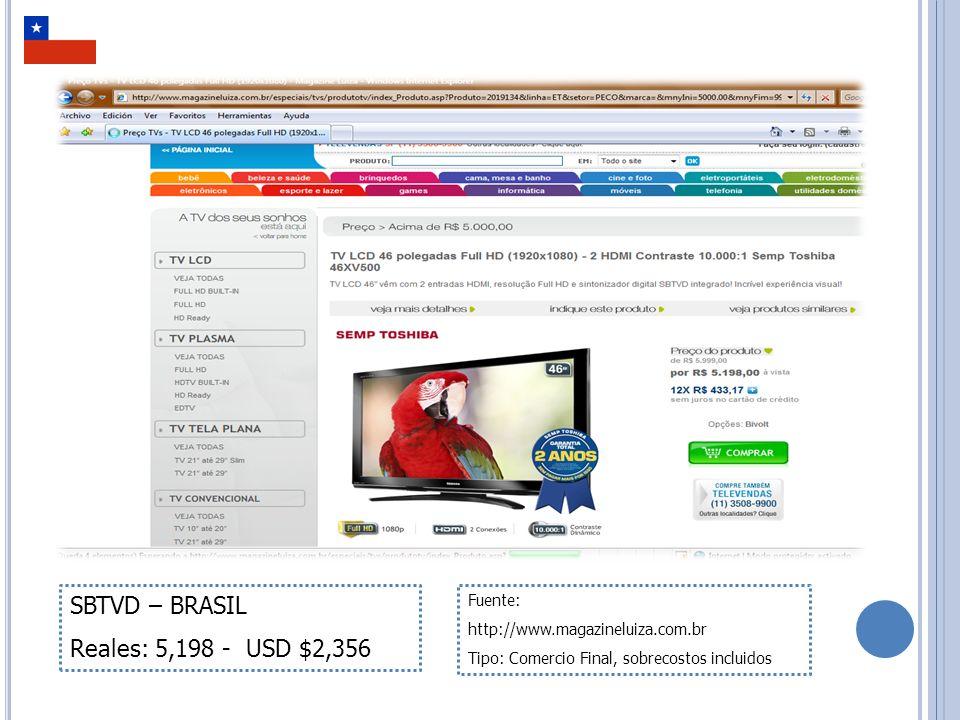TELEVISOR MÁS DE 46 PULGADAS NORMA DVB MPEG2 COSTO MÁS BAJO ENCONTRADO EN EL MERCADO INTERNACIONAL La norma DVB está presente en más de 120 países del mundo, por consiguiente es posible encontrar costos bajos en miles de comercios internacionales.