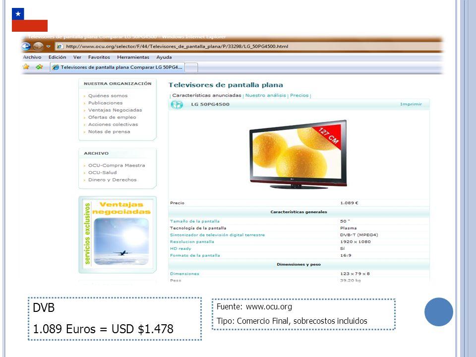 RELACIÓN GENERAL DE COSTOS Solamente en DVB es posible encontrar receptores de calidad SD En MPEG4 (SBTVD y DVB) los Televisores de 19 son muy escasos, por consiguiente no se tienen en cuenta en este estudio.