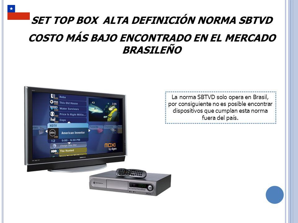 Frecuencia de Entrada: 470MHz~806MHz Nivel de Señal de Entrada: -75dBm~-20dBm HDMI: 1080i Y/Pb/Pr: 1080i Interface Ethernet: 100M Porta USB: 2.0 Recepción Vía Antena UHF: Sim Banda de Transmisión: 6MHz Aspecto: 16:9/ 4:3 com panscan e Letter Box EPG( Guía de Programación Electrónica): Sim Costo En Reales: R$319 Costo en Dólares: USD $138 Tipo: Comercio Final, sobrecostos incluidos No fue posible establecer si está traducido al Español, ni el tipo de salida de Video.