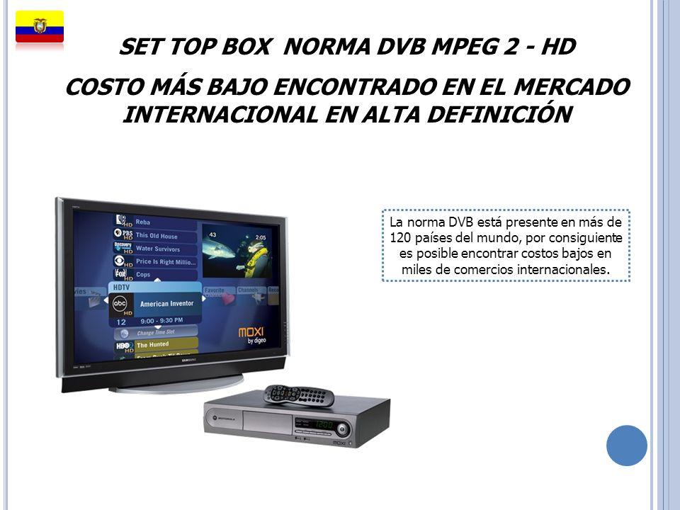 SET TOP BOX NORMA DVB MPEG 2 - HD COSTO MÁS BAJO ENCONTRADO EN EL MERCADO INTERNACIONAL EN ALTA DEFINICIÓN La norma DVB está presente en más de 120 pa