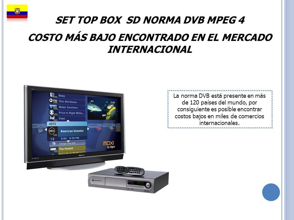 SET TOP BOX SD NORMA DVB MPEG 4 COSTO MÁS BAJO ENCONTRADO EN EL MERCADO INTERNACIONAL La norma DVB está presente en más de 120 países del mundo, por c