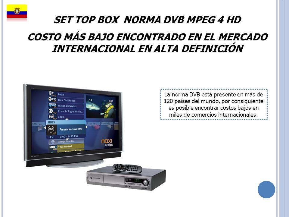 SET TOP BOX NORMA DVB MPEG 4 HD COSTO MÁS BAJO ENCONTRADO EN EL MERCADO INTERNACIONAL EN ALTA DEFINICIÓN La norma DVB está presente en más de 120 país