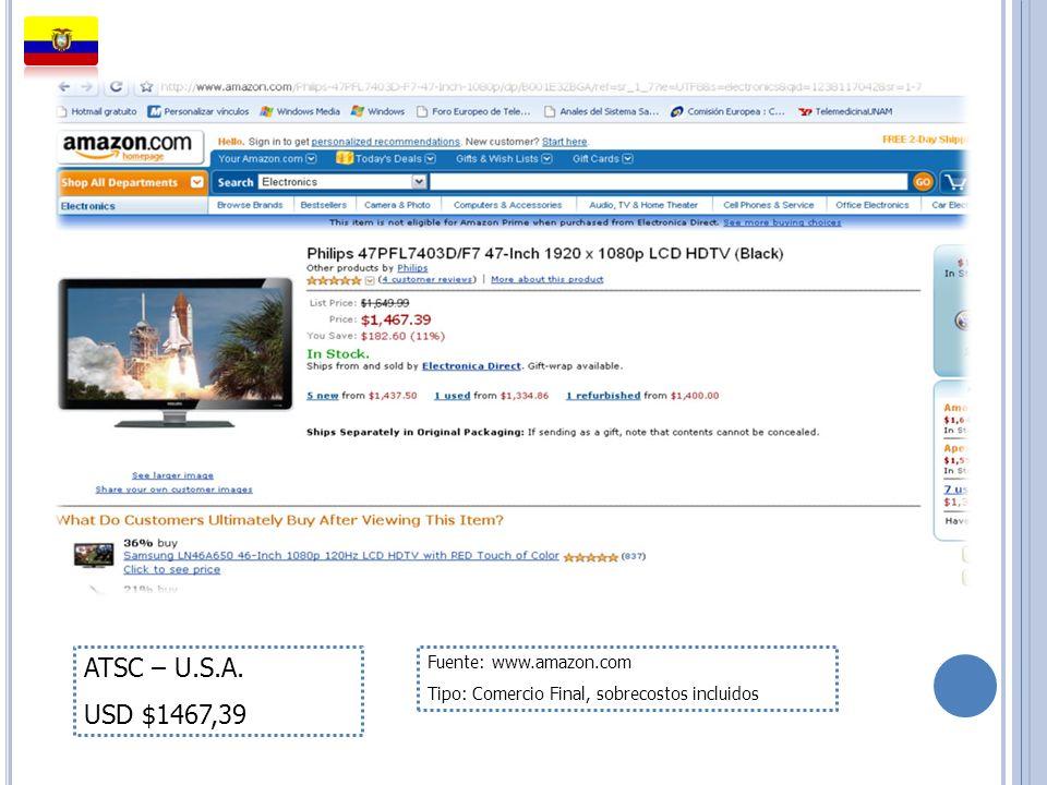 ATSC – U.S.A. USD $1467,39 Fuente: www.amazon.com Tipo: Comercio Final, sobrecostos incluidos