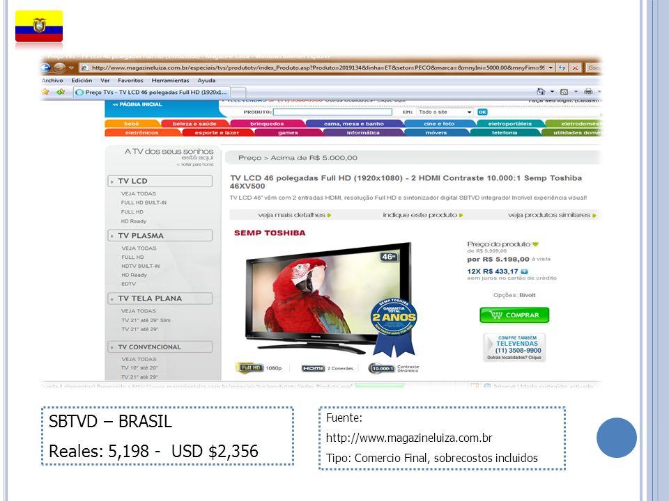 SBTVD – BRASIL Reales: 5,198 - USD $2,356 Fuente: http://www.magazineluiza.com.br Tipo: Comercio Final, sobrecostos incluidos