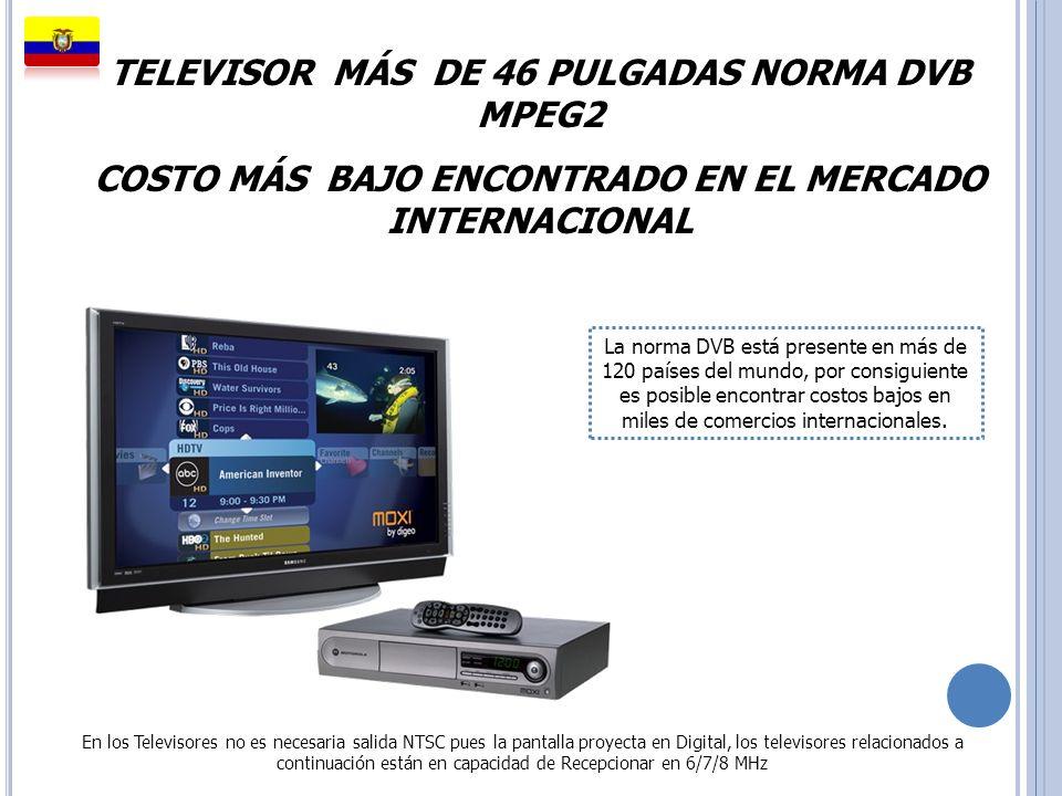 TELEVISOR MÁS DE 46 PULGADAS NORMA DVB MPEG2 COSTO MÁS BAJO ENCONTRADO EN EL MERCADO INTERNACIONAL La norma DVB está presente en más de 120 países del