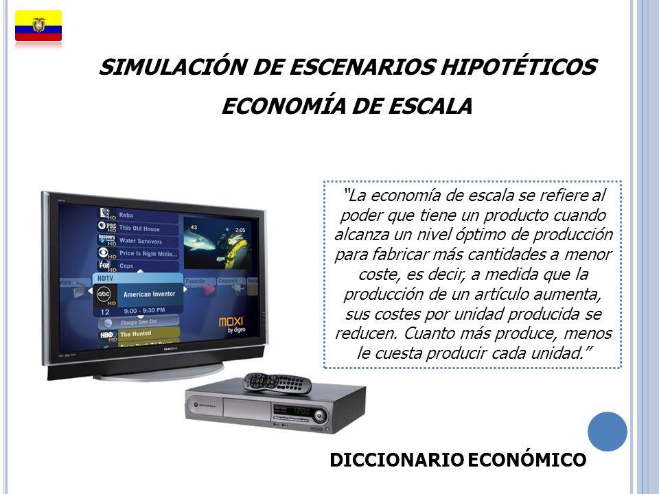 SIMULACIÓN DE ESCENARIOS HIPOTÉTICOS ECONOMÍA DE ESCALA La economía de escala se refiere al poder que tiene un producto cuando alcanza un nivel óptimo