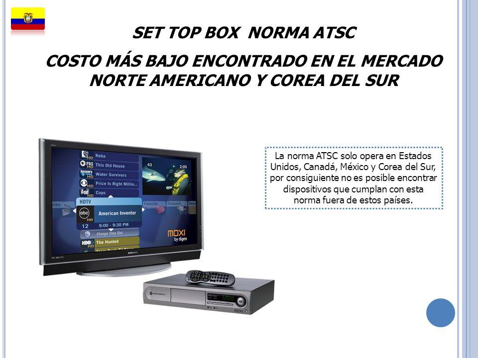 SET TOP BOX NORMA ATSC COSTO MÁS BAJO ENCONTRADO EN EL MERCADO NORTE AMERICANO Y COREA DEL SUR La norma ATSC solo opera en Estados Unidos, Canadá, Méx