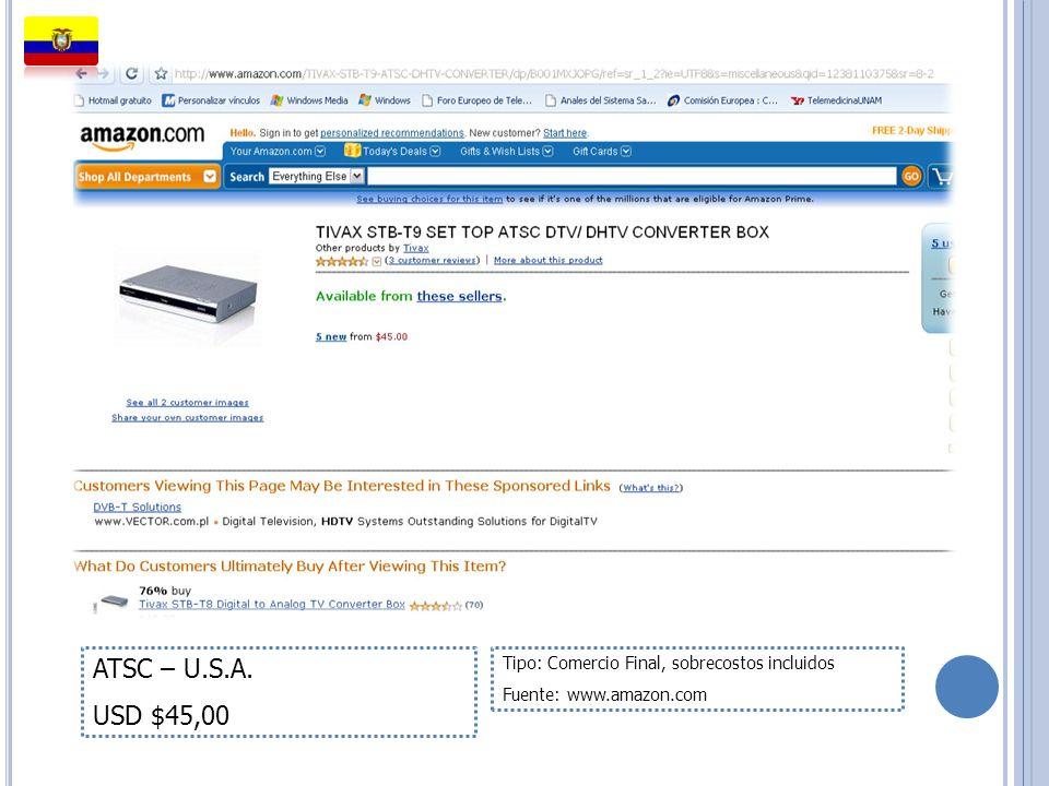 ATSC – U.S.A. USD $45,00 Tipo: Comercio Final, sobrecostos incluidos Fuente: www.amazon.com