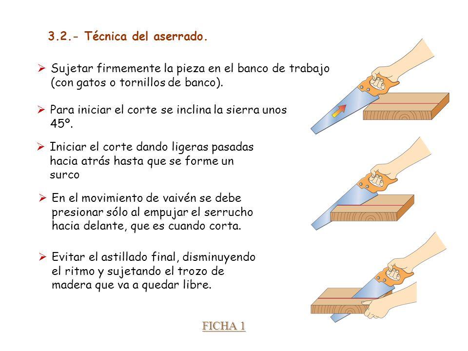 Unidad 3. Trabajando la madera Para iniciar el corte se inclina la sierra unos 45º. Sujetar firmemente la pieza en el banco de trabajo (con gatos o to