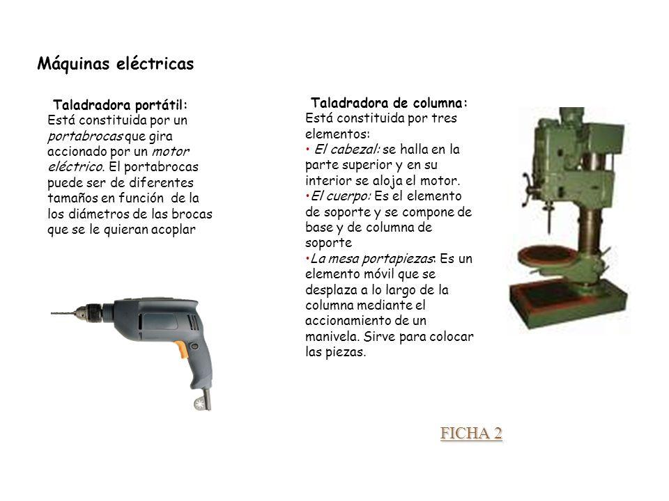 Unidad 3. Trabajando la madera Máquinas eléctricas Taladradora portátil: Está constituida por un portabrocas que gira accionado por un motor eléctrico