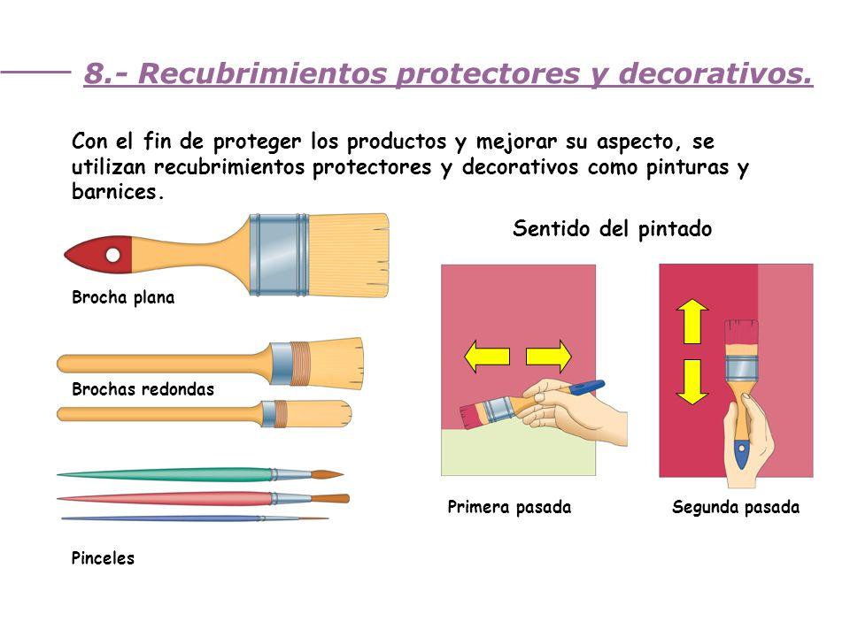 Unidad 3. Trabajando la madera 8.- Recubrimientos protectores y decorativos. Con el fin de proteger los productos y mejorar su aspecto, se utilizan re