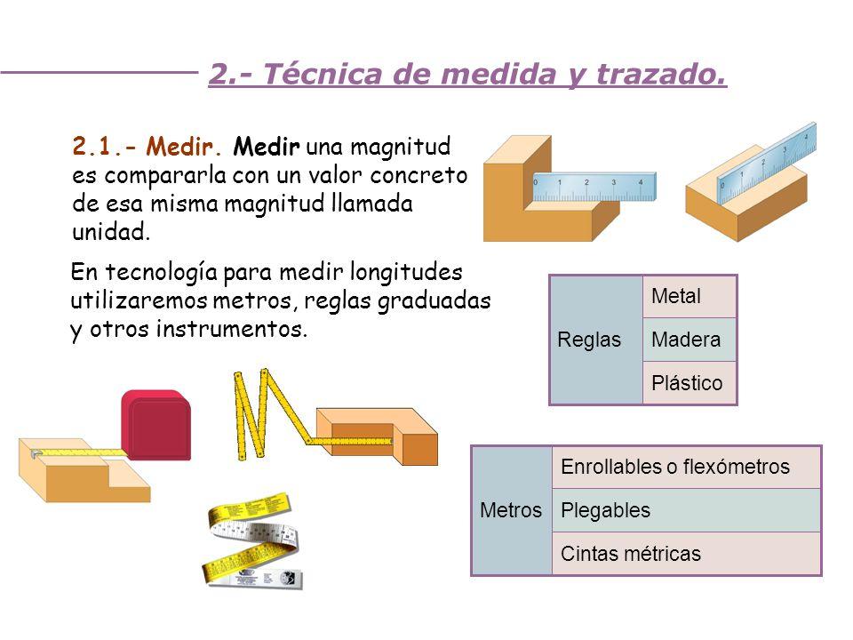 Unidad 3. Trabajando la madera 2.- Técnica de medida y trazado. 2.1.- Medir. Medir una magnitud es compararla con un valor concreto de esa misma magni