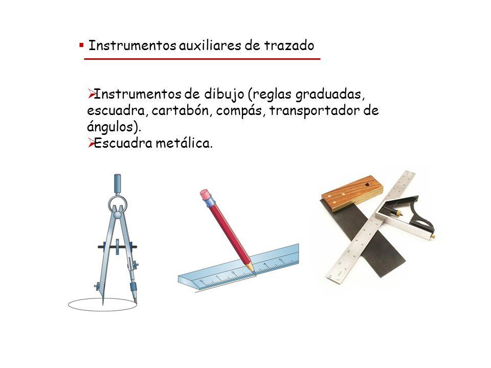 Unidad 3. Trabajando la madera Instrumentos auxiliares de trazado Instrumentos de dibujo (reglas graduadas, escuadra, cartabón, compás, transportador