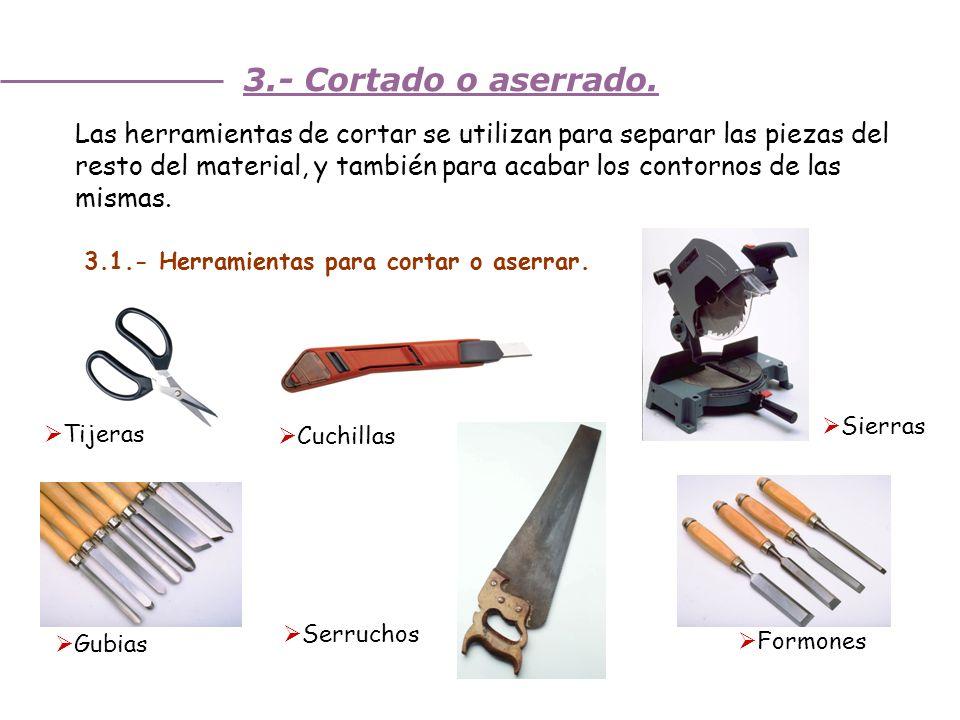 Unidad 3. Trabajando la madera 3.- Cortado o aserrado. Las herramientas de cortar se utilizan para separar las piezas del resto del material, y tambié