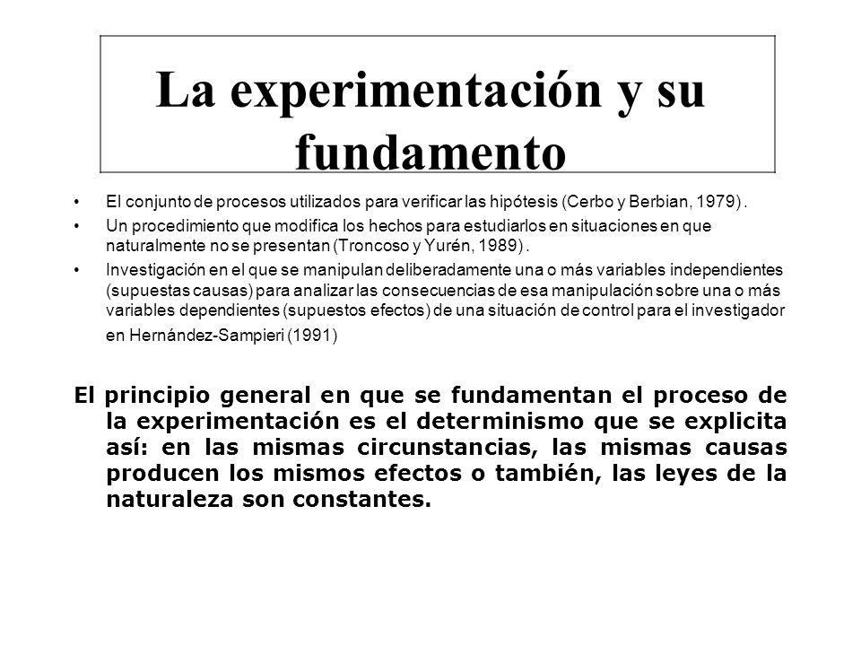 CARACTERÍSTICAS DEL EXPERIMENTO Para Ary et al (1987) 1) Se manipula una variable independiente 2) Se mantienen constantes todas las variables restantes excepto la independiente 3) Se observa el efecto que la manipulación de la variable independiente produce la variable dependiente Troncoso y Yuren (1989) a) Provoca el fenómeno a voluntad b) Reproduce el fenómeno bajo determinadas condiciones el número de veces que lo considere necesario c) La experimentación es activa y el experimentador es un actor y no un espectador ante el fenómeno estudiado Para Bisquerra (1989) y Hernández Sampieri et al (1991) 1) La manipulación intencional de una o más variables 2) La medición del efecto de la variable independiente sobre la variable dependiente 3) El control de variables.