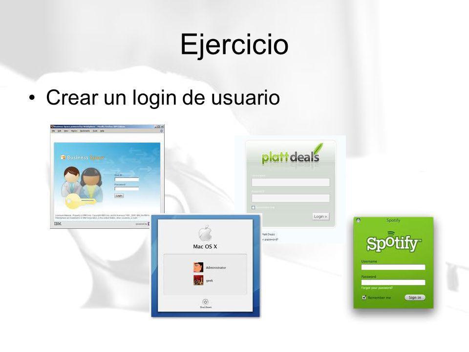 Ejercicio Crear un login de usuario
