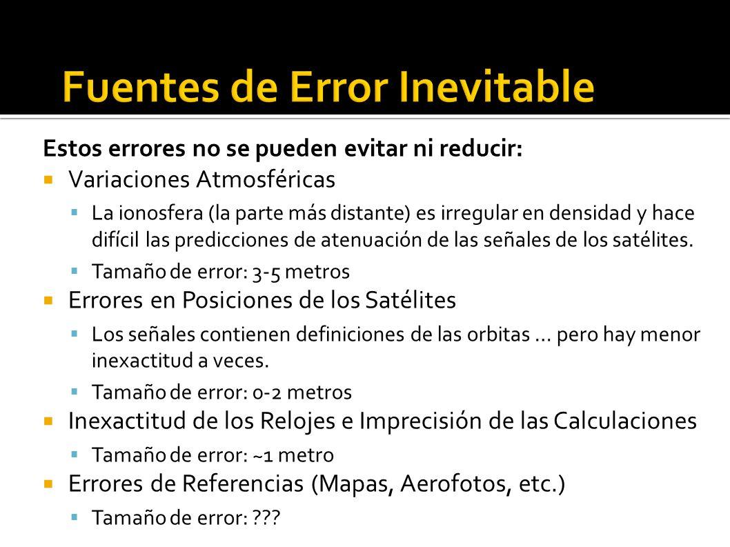 Estos errores no se pueden evitar ni reducir: Variaciones Atmosféricas La ionosfera (la parte más distante) es irregular en densidad y hace difícil las predicciones de atenuación de las señales de los satélites.