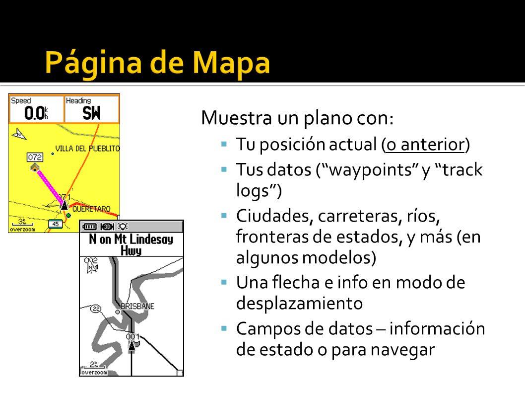 Muestra un plano con: Tu posición actual (o anterior) Tus datos (waypoints y track logs) Ciudades, carreteras, ríos, fronteras de estados, y más (en algunos modelos) Una flecha e info en modo de desplazamiento Campos de datos – información de estado o para navegar