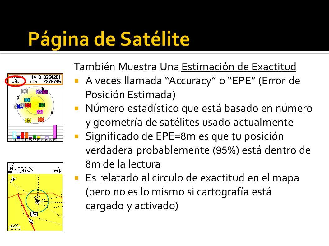 También Muestra Una Estimación de Exactitud A veces llamada Accuracy o EPE (Error de Posición Estimada) Número estadístico que está basado en número y geometría de satélites usado actualmente Significado de EPE= 8 m es que tu posición verdadera probablemente ( 95% ) está dentro de 8 m de la lectura Es relatado al circulo de exactitud en el mapa (pero no es lo mismo si cartografía está cargado y activado)