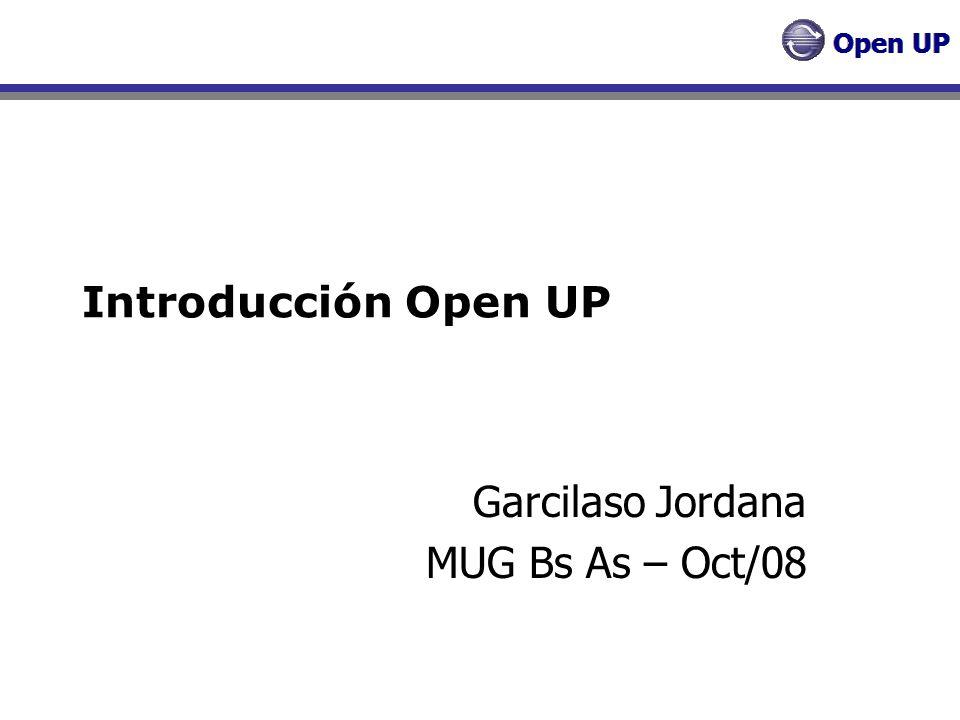 Open UP - Concepción Objetivos Entender qué construir Identificar funcionalidad Clave Determinar al menos una posible solución Entender costos, calendario y riesgos del proyecto