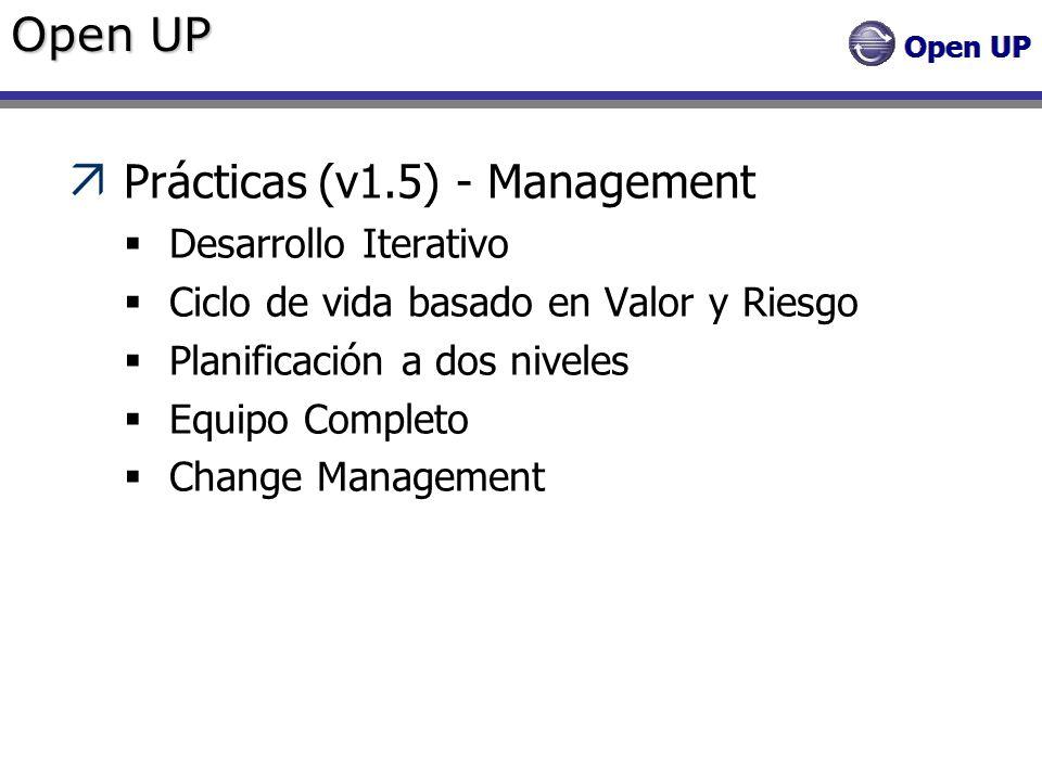 Open UP Prácticas (v1.5) - Management Desarrollo Iterativo Ciclo de vida basado en Valor y Riesgo Planificación a dos niveles Equipo Completo Change M