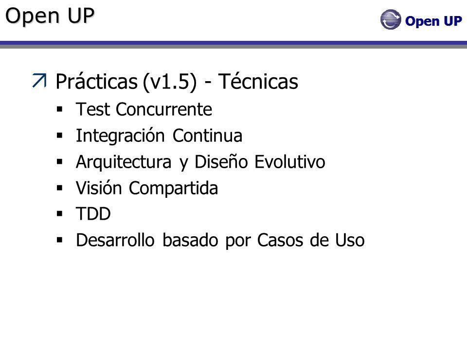 Open UP Prácticas (v1.5) - Técnicas Test Concurrente Integración Continua Arquitectura y Diseño Evolutivo Visión Compartida TDD Desarrollo basado por
