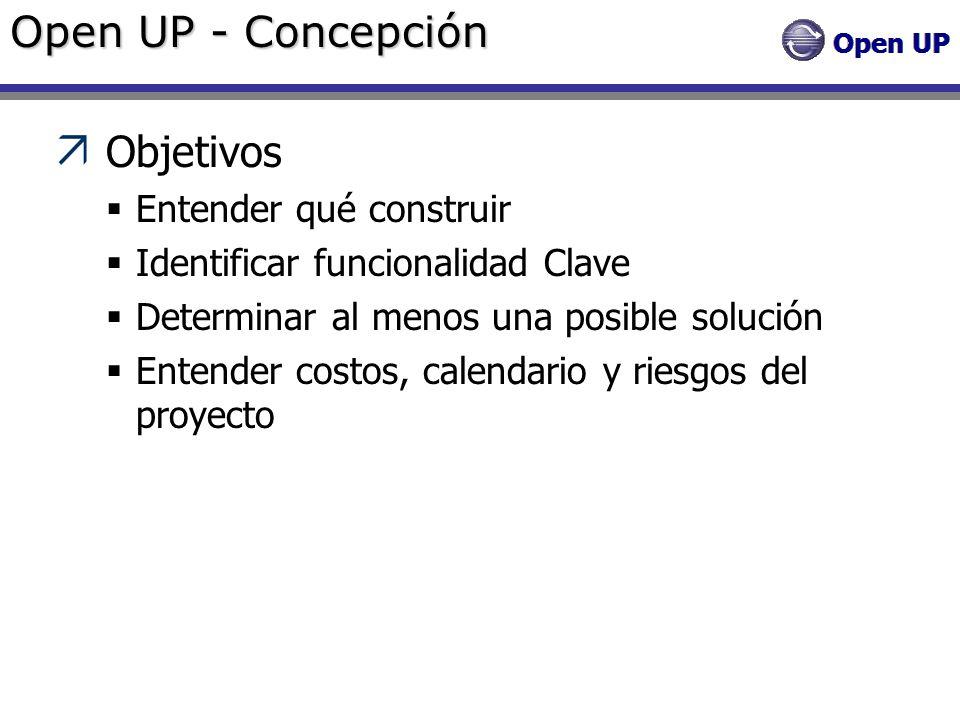 Open UP - Concepción Objetivos Entender qué construir Identificar funcionalidad Clave Determinar al menos una posible solución Entender costos, calend