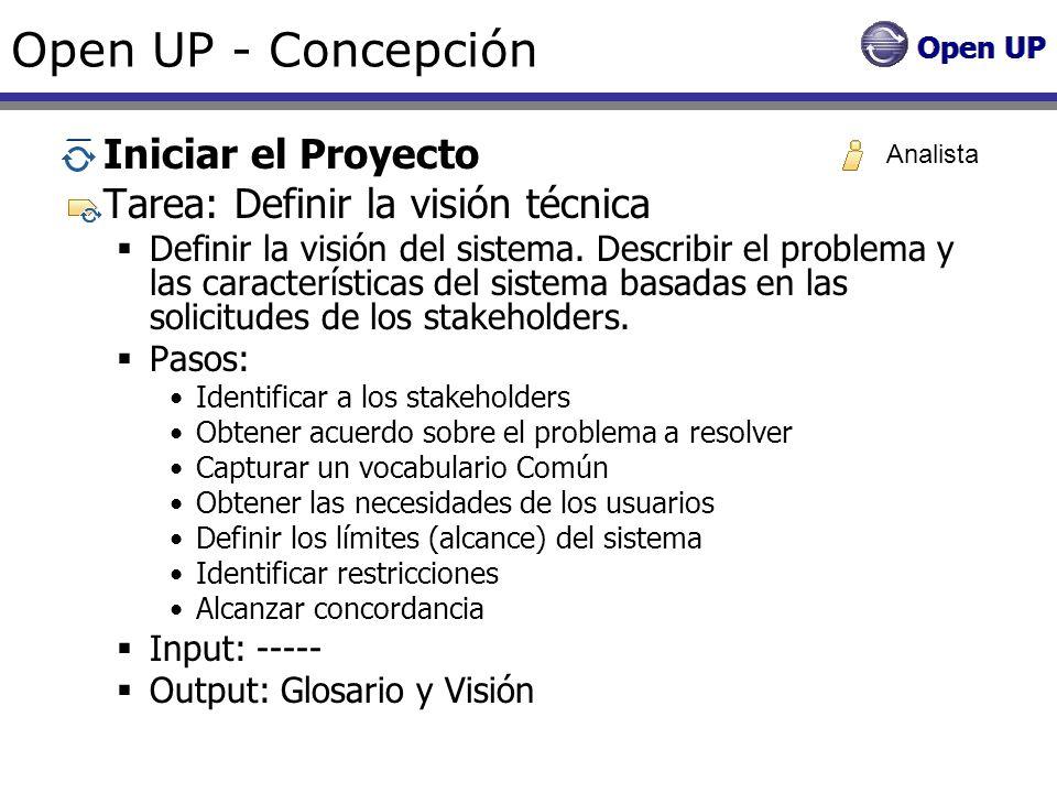 Open UP - Concepción Iniciar el Proyecto Tarea: Definir la visión técnica Definir la visión del sistema. Describir el problema y las características d