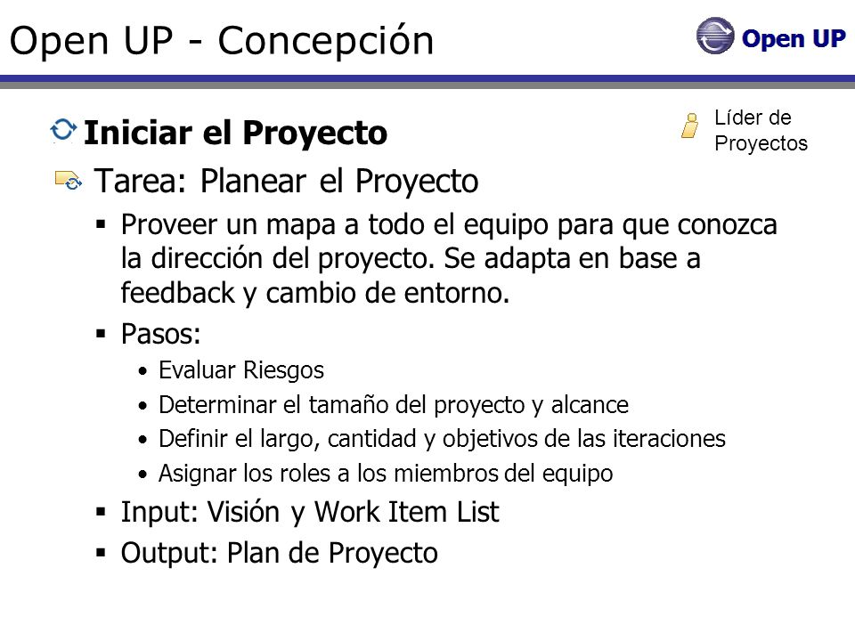 Open UP - Concepción Iniciar el Proyecto Tarea: Planear el Proyecto Proveer un mapa a todo el equipo para que conozca la dirección del proyecto. Se ad