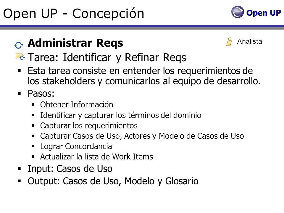 Open UP - Concepción Administrar Reqs Tarea: Identificar y Refinar Reqs Esta tarea consiste en entender los requerimientos de los stakeholders y comun