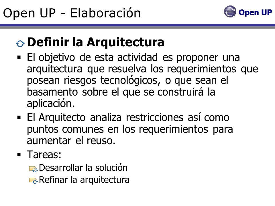 Open UP - Elaboración Definir la Arquitectura El objetivo de esta actividad es proponer una arquitectura que resuelva los requerimientos que posean ri