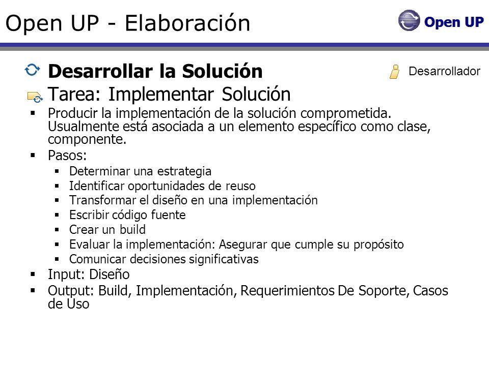Open UP - Elaboración Desarrollar la Solución Tarea: Implementar Solución Producir la implementación de la solución comprometida. Usualmente está asoc