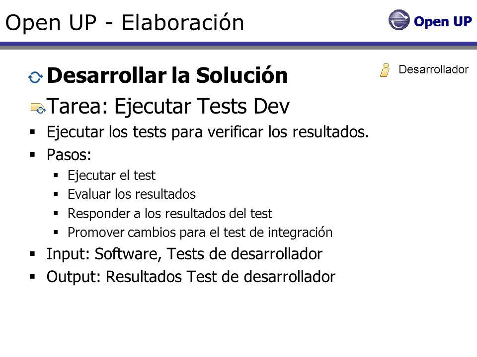 Open UP - Elaboración Desarrollar la Solución Tarea: Ejecutar Tests Dev Ejecutar los tests para verificar los resultados. Pasos: Ejecutar el test Eval